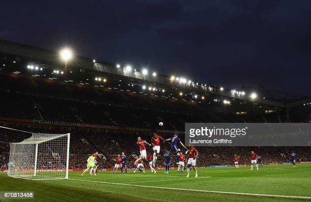 A general view of the action during the UEFA Europa League quarter final second leg match between Manchester United and RSC Anderlecht at Old...