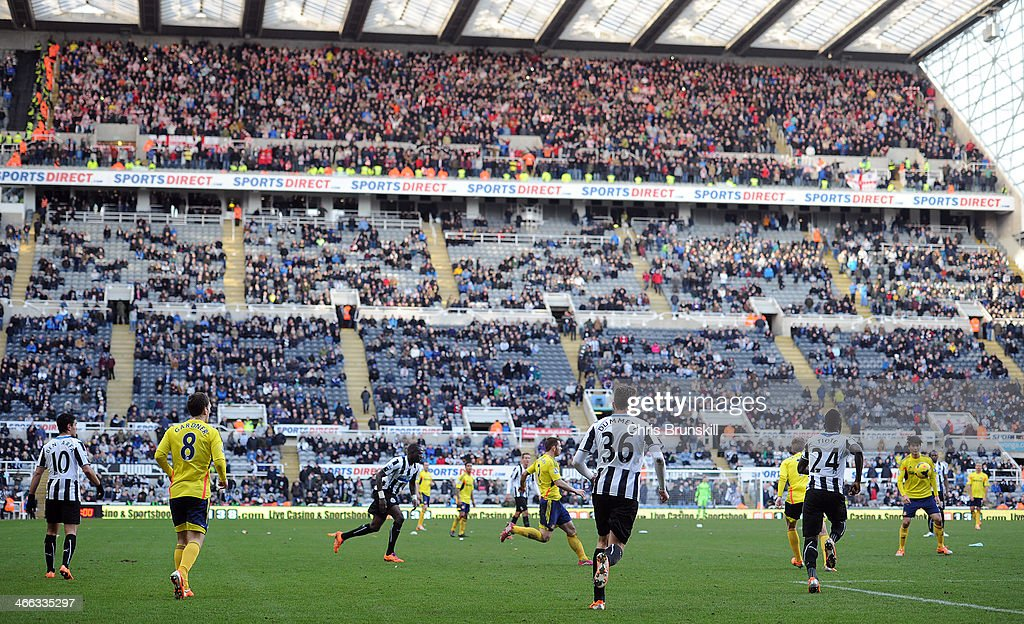 A general view of the action in front of a half empty stand during the Barclays Premier League match between Newcastle United and Sunderland at St James' Park on February 01, 2014 in Newcastle upon Tyne, England.