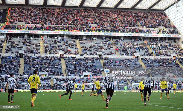 A general view of the action in front of a half empty stand during the Barclays Premier League match between Newcastle United and Sunderland at St...