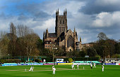 A general view of the action in front of Worcester Cathedral during day one of the LV County Championship Division One match between Worcestershire...