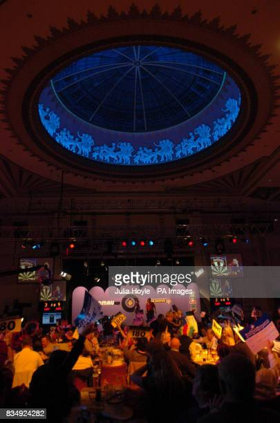 A general view of the action in the auditorium between England's Martin Adams and England's Scott Waites in the Final of the Winmau World Masters at...