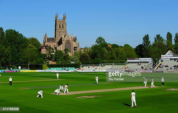 A general view of the action in the shadow of the cathederal during day three of the LV County Championship division one match between Worcestershire...