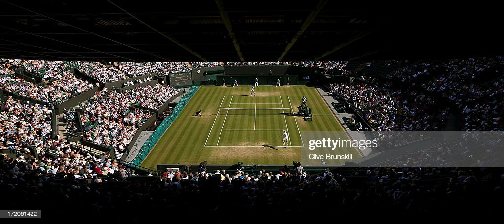 A general view of the action on Court One during the Gentlemen's Singles fourth round match between Andreas Seppi of Italy and Juan Martin Del Potro of Argentina on day seven of the Wimbledon Lawn Tennis Championships at the All England Lawn Tennis and Croquet Club on July 1, 2013 in London, England.