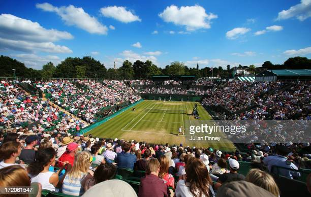 A general view of the action on Court Two during the Ladies' Singles fourth roundmatch between Agnieszka Radwanska of Poland and Tsvetana Pironkova...