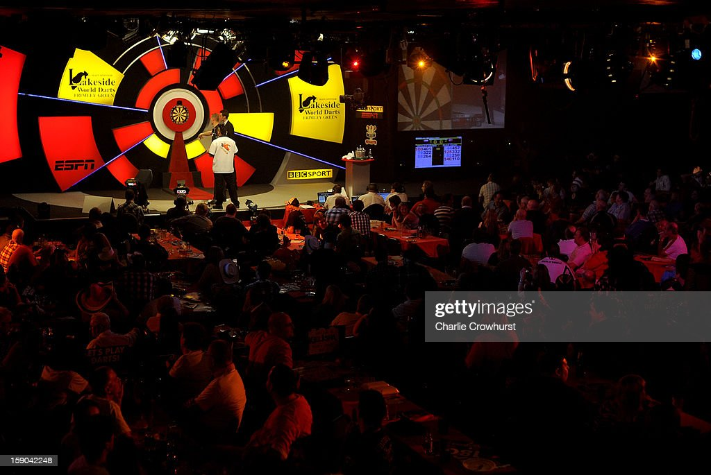 A general view of the action on day two of the BDO Lakeside World Professional Darts Championships at Lakeside Country Club on January 06, 2013 in London, England.