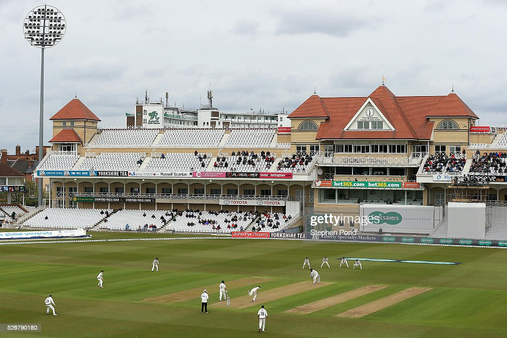 A general view of the action underway during day one of the Specsavers County Championship Division One match between Nottinghamshire and Yorkshire at Trent Bridge on May 1, 2016 in Nottingham, England.