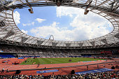 A general view of the action underway during day two of the Muller Anniversary Games at The Stadium Queen Elizabeth Olympic Park on July 23 2016 in...