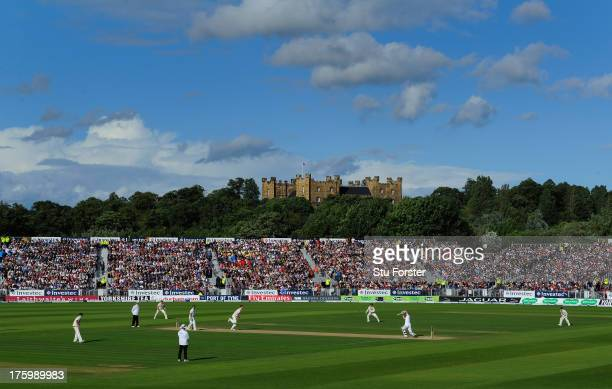 A general view of the action with Lumley Castle in the background during day three of 4th Investec Ashes Test match between England and Australia at...