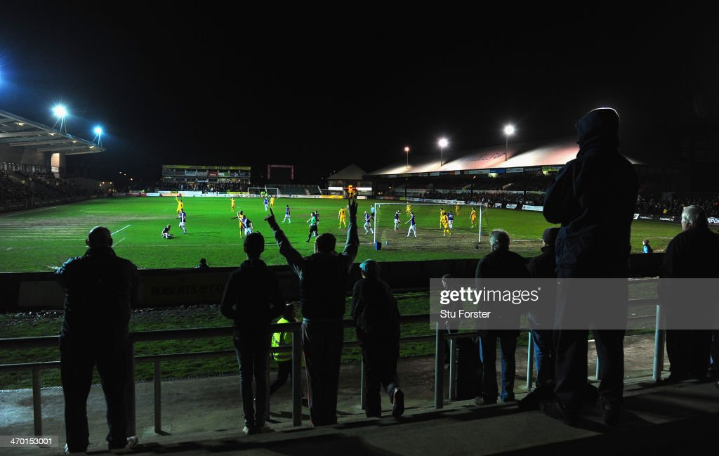 A general view of the acton as football returns to Rodney Parade after the bad weather had postponed their previous few home games during the Sky Bet...