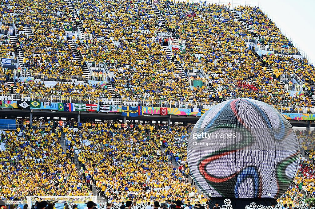 A general view of the aena during the Opening Ceremony of the 2014 FIFA World Cup Brazil prior to the Group A match between Brazil and Croatia at...