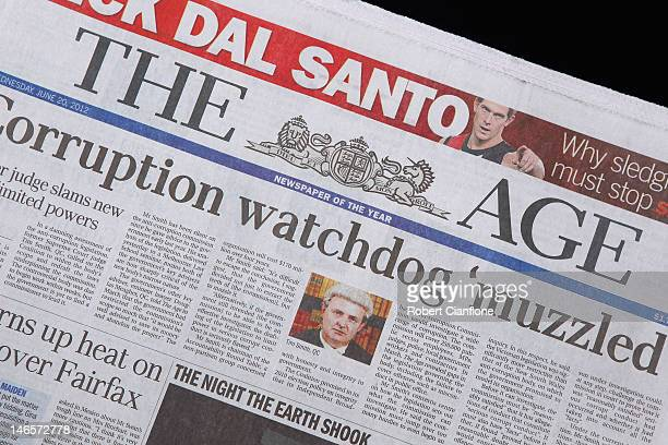 A general view of The Age newspaper masthead on June 20 2012 in Melbourne Australia Fairfax media group this week announced it will cut 1900 staff...