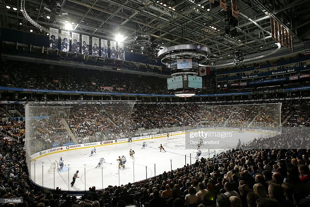 A general view of the Air Canada Centre is seen as the Boston Bruins take on the Toronto Maple Leafs during their NHL game at the Air Canada Centre...