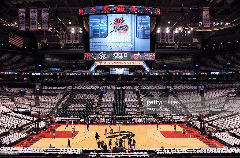 A general view of the Air Canada Centre prior to Game Two of the Eastern Conference Semifinals between the Miami Heat and the Toronto Raptors during the 2016 NBA Playoffs on May 5, 2016 in Toronto, Ontario, Canada.