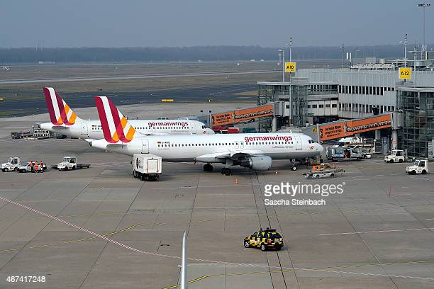 A general view of the airfiled at Duesseldorf International Airport on March 24 2015 in Duesseldorf Germany Germanwings flight 4U9525 from Barcelona...