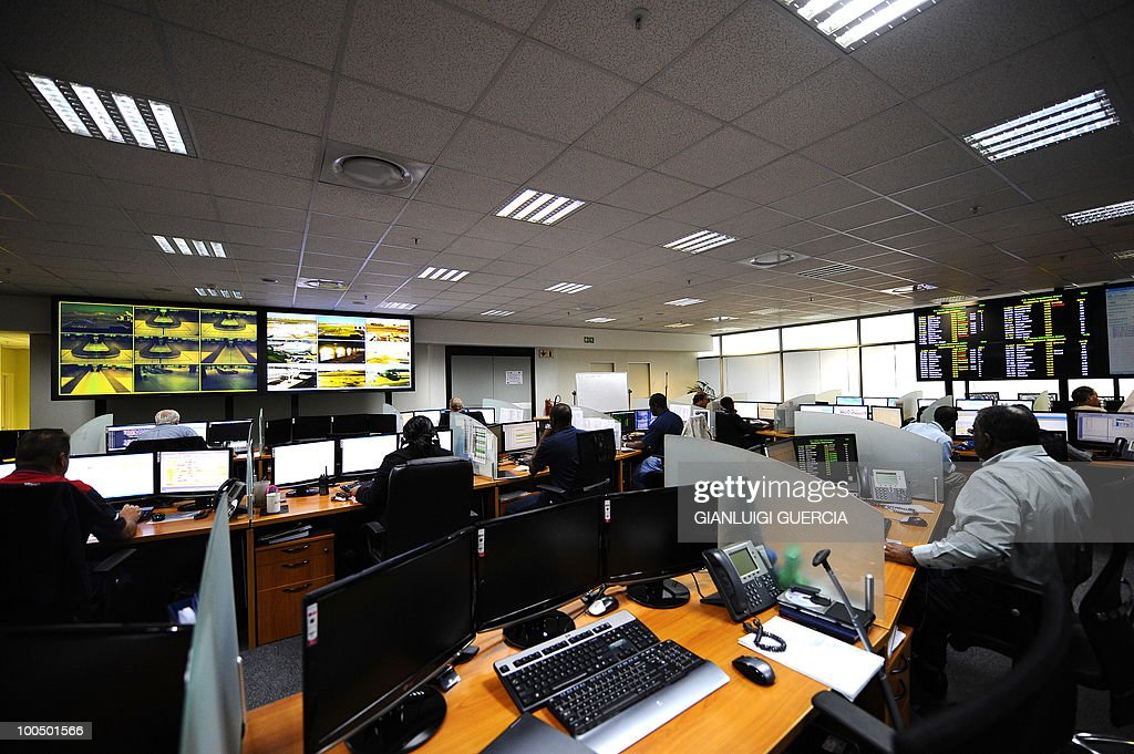 A general view of the airport management center is pictured on May 25, 2010 at the Johannesburg O.R Tambo International airport in Johannesburg, South Africa. South Africa will host the FIFA World Cup 2010 from the 11th of June to the 11 of July.