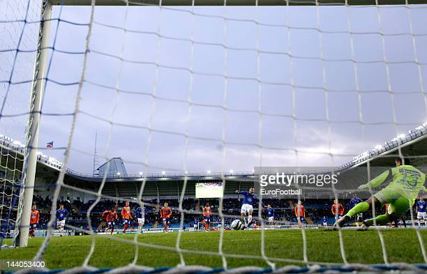 General view of the Aker Stadion home of Molde FK seen as Magne Hoseth of Molde FK scores the winning goal from the penalty spot taken during the...