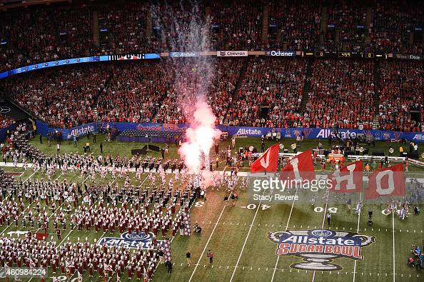 A general view of the Alabama and Ohio State bands on the field during the pregame activities prior to the start of the game during the All State...