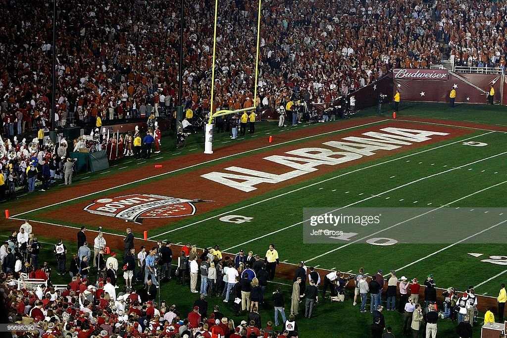 A general view of the Alabama Crimson Tide endzone before the Citi BCS National Championship game between the Crimson Tide and the Texas Longhorns at the Rose Bowl on January 7, 2010 in Pasadena, California.