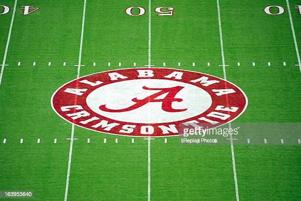 A general view of the Alabama logo at midfield during a game between the Western Kentucky Hilltoppers and the Alabama Crimson Tide on September 8...