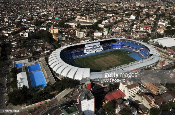 General view of the Alberto Galindo Swimming Pool and Pascual Guerrero Olympic Stadium on August 1 during the World Games 2013 in Cali Colombia AFP...