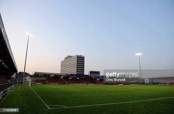 A general view of the Alexandra Stadium following the pre season friendly match between Crewe Alexandra and Blackburn Rovers at The Alexandra Stadium...