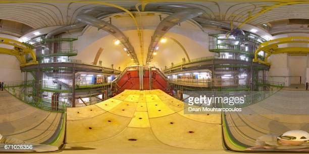A general view of the ALICE cavern and detector during a behind the scenes tour at CERN the World's Largest Particle Physics Laboratory on April 19...