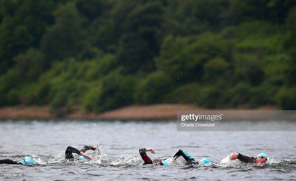 A general view of the all the action in and around the finish chute during the Ironman 70.3 UK at Exmoor National Park on June 26, 2016 in Somerset, England.