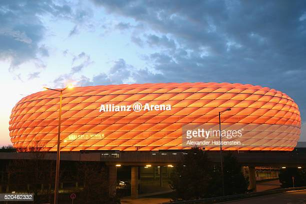 General view of the Allianz Arena as illuminated in Orange color during Illumination Tests on April 11 2016 in Munich Germany
