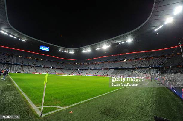 A general view of the Allianz Arena before the UEFA Champions League Group Stage match between Bayern Muenchen and Arsenal on November 4 2015 in...