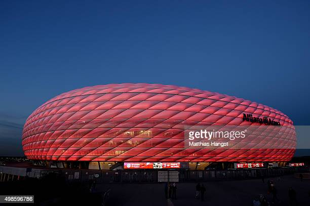 General view of the Allianz Arena prior to the UEFA Champions League Group F match between FC Bayern Muenchen and Olympiacos FC at Allianz Arena on...