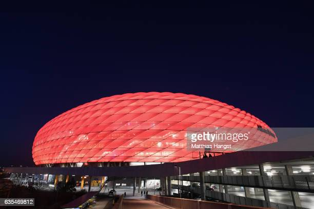 A general view of the Allianz Arena prior to the UEFA Champions League Round of 16 first leg match between FC Bayern Muenchen and Arsenal FC at...