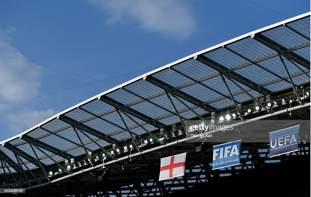 A general view of the Allianz Riviera Stadium where the England Flag can be seen prior to the UEFA EURO 2016 round of 16 match between England and Iceland at Allianz Riviera Stadium on June 27, 2016 in Nice, France.