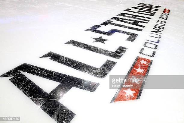 A general view of the AllStar logo prior to the 2015 Honda NHL AllStar Skills Competition at the Nationwide Arena on January 24 2015 in Columbus Ohio