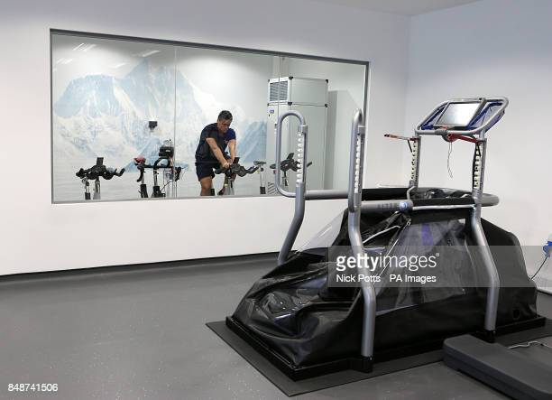 A general view of The AlterG treadmill next to the altitude training chamber during a media tour of St Georges' Park Football Centre BurtonUponTrent