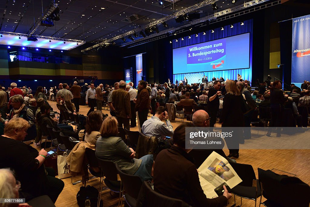 General view of the Alternative fuer Deutschland (AfD) political party federal congress on May 01, 2016 in Stuttgart, Germany. A server of the party had been hacked by a left political group and the addresses of AfD members has been published. The AfD, a relative newcomer to the German political landscape, has emerged from Euro-sceptic conservatism towards a more right-wing leaning appeal based in large part on opposition to Germany's generous refugees and migrants policy. Since winning seats in March elections in three German state parliaments the party has sharpened its tone, calling for a ban on minarets and claiming that Islam does not belong in Germany.