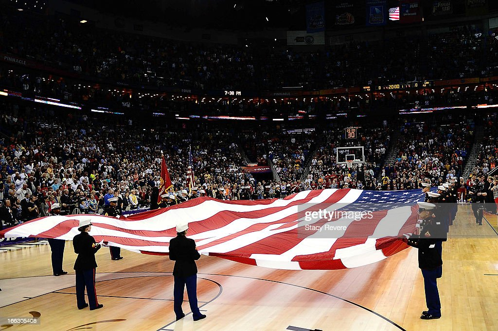 General view of the American Flag prior to the National Final game of the 2013 NCAA Division I Women's Basketball Championship at New Orleans Arena on April 9, 2013 in New Orleans, Louisiana between the Connecticut Huskies and the Louisville Cardinals.