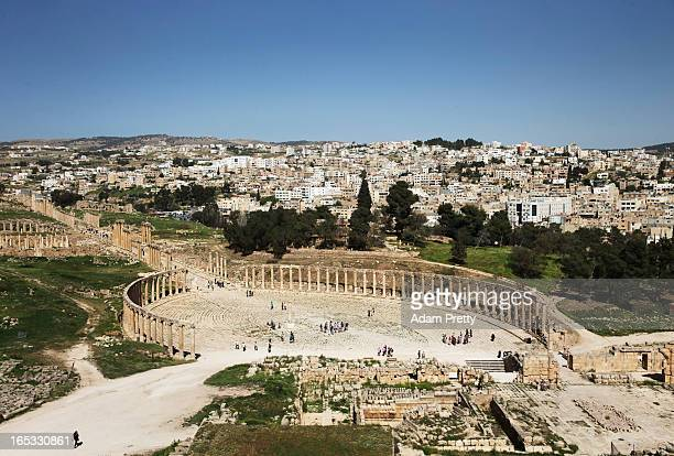 A general view of the ancient Jordanian city of Jerash on March 26 2013 outside Amman Jordan