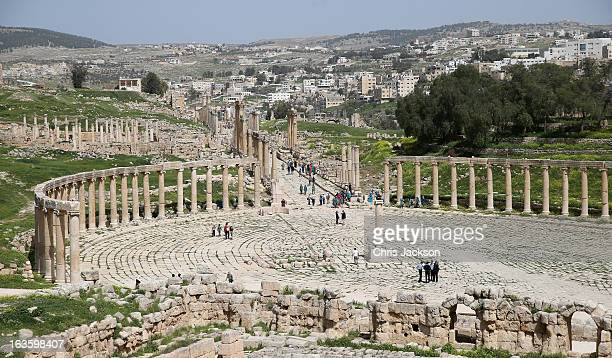 A general view of the ancient Roman ruins in Jaresh on the third day of a visit to the country by Prince Charles Prince of Wales and Camilla Duchess...
