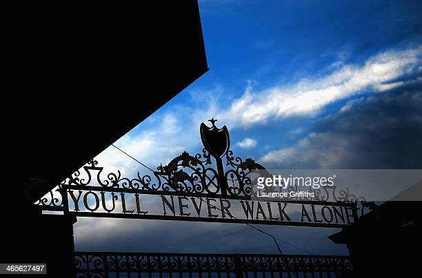 A general view of the Anfield gates prior to kickoff during the Barclays Premier League match between Liverpool and Everton at Anfield on January 28...
