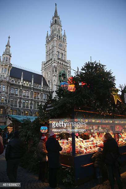 General view of the annual Christmas market at Marienplatz and the Town Hall on its opening day on November 25 0213 in Munich Germany Christmas...