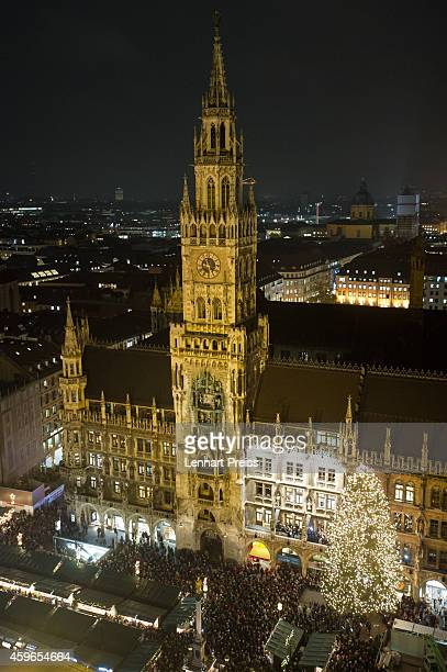 General view of the annual Christmas market on Marienplatz square on the market's opening day on November 27 2014 in Munich Germany Christmas markets...