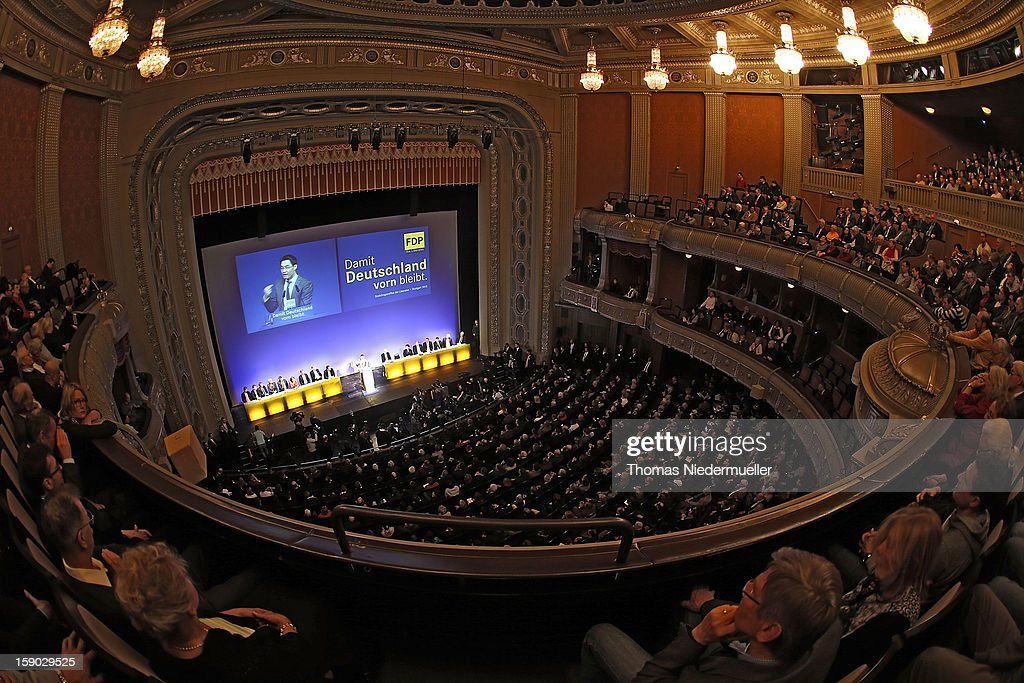 General view of the annual FDP Epiphany congress on January 6, 2012 in Stuttgart, Germany. Roesler is coming under growing pressure to relinquish his post as party chairman to someone more charismatic and better suited in turning the party's declining popularity around. The FDP is the junior partner in the current German coalition government and current polls show the party struggling to stay above the critical 5% mark needed if it is to retain seats in the Bundestag in national elections scheduled for later this year.