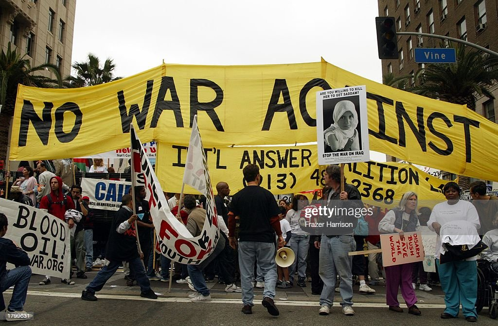 A general view of the Anti War Protest on February 15, 2003 in Hollywood, Los Angeles, California.