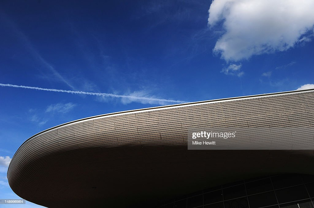 General view of the Aquatic Centre roof at the Olympic Park on July 20 2012 in London England