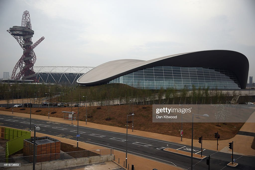 A General View Of The Aquatics Centre And Orbit Inside Olympic Park On April 2