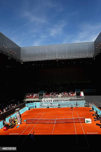 A general view of the Arantxa Sanchez Vicario court showing JoWilfried Tsonga of France against Edouard RogerVasselin of France in their first round...
