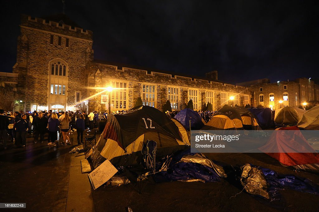 A general view of the area students have camped at to get tickets to the Duke Blue Devils versus North Carolina Tar Heels game at Cameron Indoor Stadium on February 13, 2013 in Durham, North Carolina.