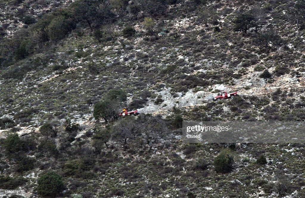 General view of the area where the plane where the mexican singer Jenni Rivera was flying crashed, close to the Tejocote Ranch, on December 09, 2012 in Monterrey, Mexico. The plane where the 43-year-old singer and her band were travelling crashed on their way to the city of Toluca.