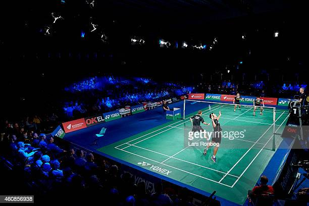 General view of the arena and Anders Skaarup Rasmussen and Mads ConradPetersen of Denmark in action during the Yonex Copenhagen Masters Badminton at...
