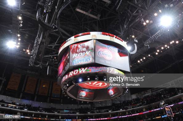General view of the arena and jumbotron displaying the 17th win in a row mark for Clippers as seen during the game between the Los Angeles Clippers...